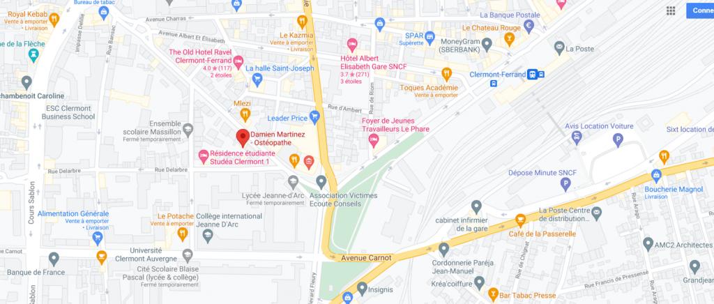 plan adresse ostéopathe Clermont ferrand